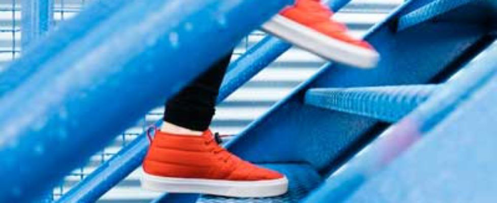 Orange shoes on steps