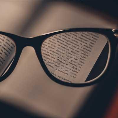 Book through glasses